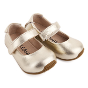 Kids Leather Mary-Jane Shoes Gold
